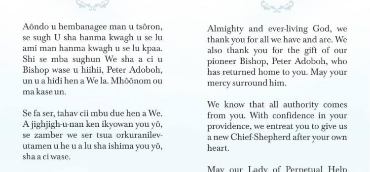 Prayer for the Election of a New Catholic Diocese of Katsina-Ala